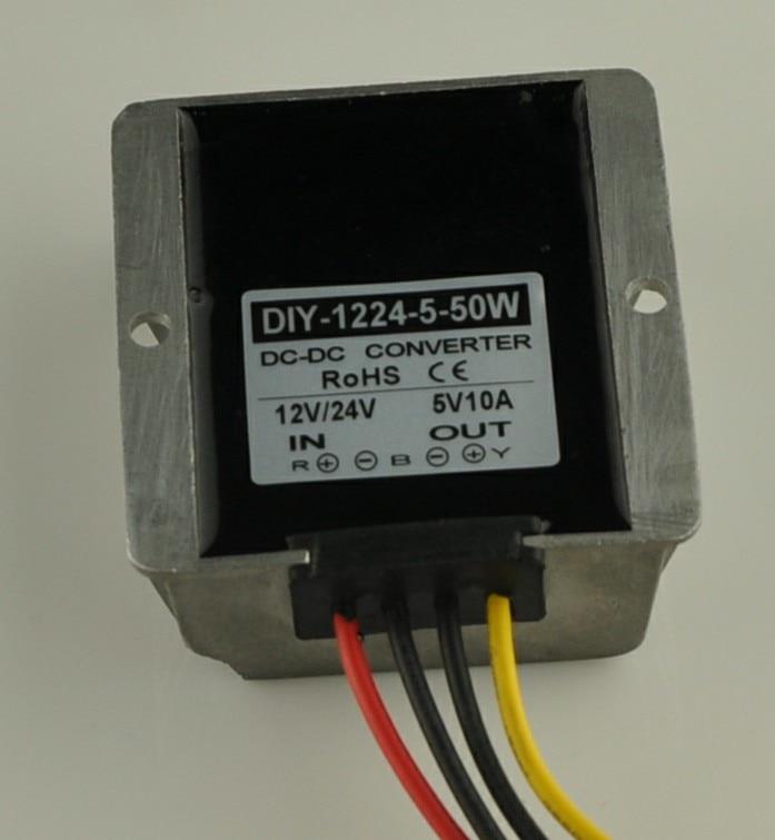 цена на DC DC 12V24V(8.5V-40V) To 5V 10A 50W Step Down Converter Buck Module Car Power Supply Adapter Voltage Regulator Waterproof