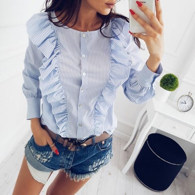 Women Summer New Fashion O-Neck Ruffles Long Sleeve elegant tops blue striped button blouse Casual Office work shirts 7