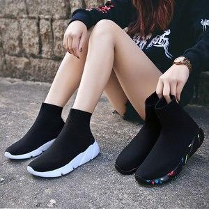 Image 4 - をmwy新ストレッチ靴下靴女性フラット通気性スニーカーの靴高トップ女性カジュアルシューズzapatos mujer schoenen