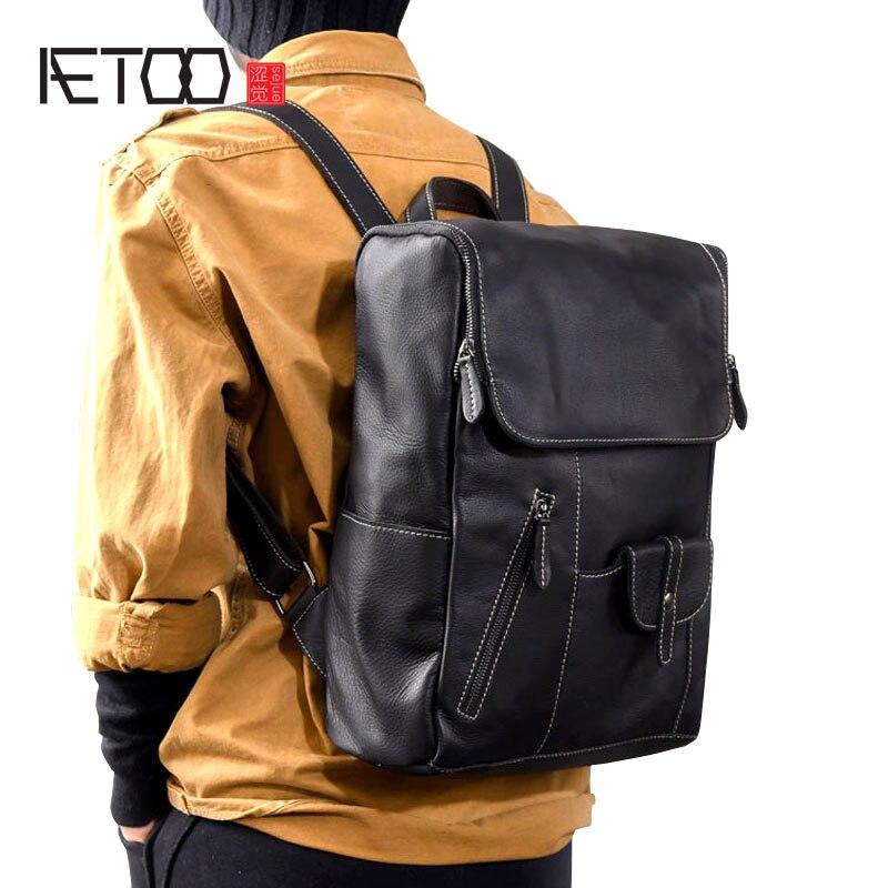 AETOO Soft leather multi-pocket original handmade men's leather shoulder bag leather travel backpack aetoo original leather shoulder bag men and women backpack handmade retro classic multi purpose bag