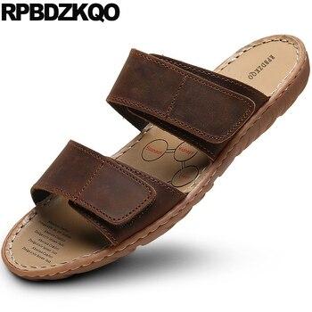 slip on flat outdoor slides slippers brown size 46 shoes plus water men sandals leather summer black 47 designer waterproof nice
