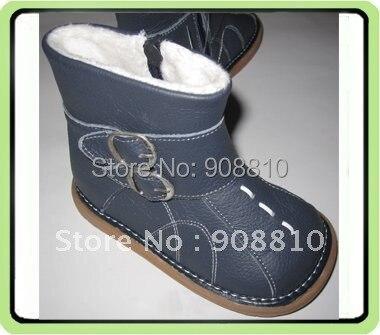Детские ботинки из мягкой кожи; обувь для мальчиков; темно-синие зимние ботинки с пряжкой; Новое поступление; Розничная и