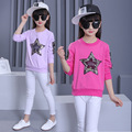 2017 New Spring Kid T-shirt For Girl Sequin Star Decoration Kid Pulover Hoodies Children Cotton Solid Color Toop Tees Clothes
