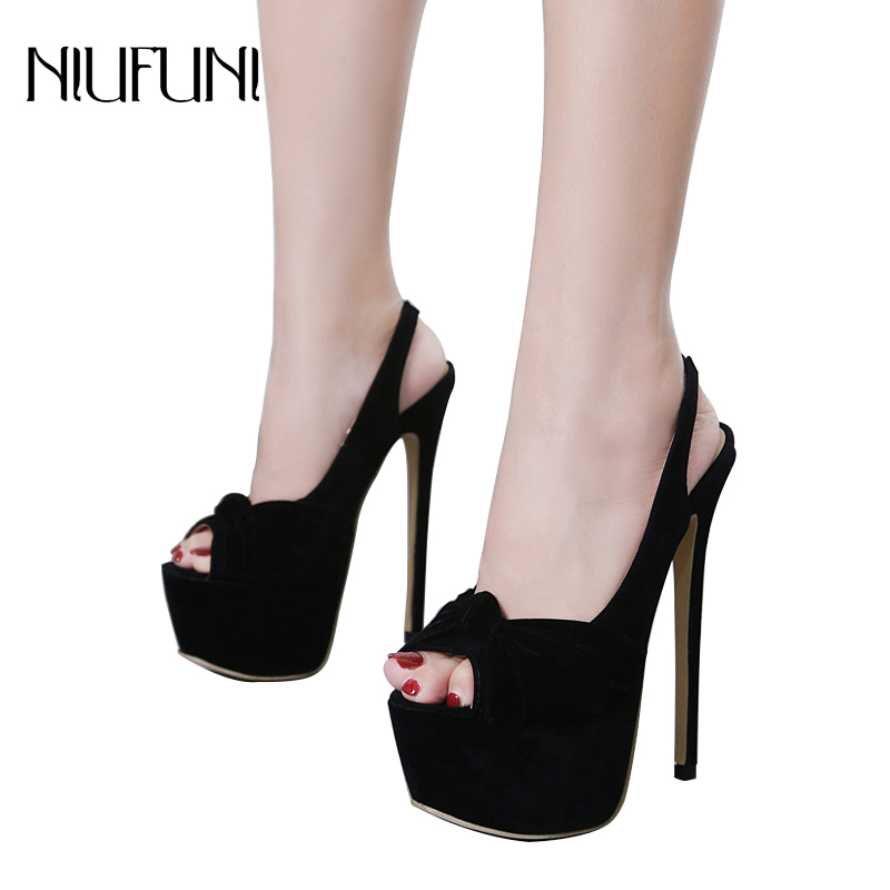 9993af5d5efe 7 CM Platform Sandals For Women 16 CM High Heels Sling Back Strap Female  Shoes Peep Toe Pumps Party Shoes Sexy Wedding Shoes-in High Heels from  Shoes on ...