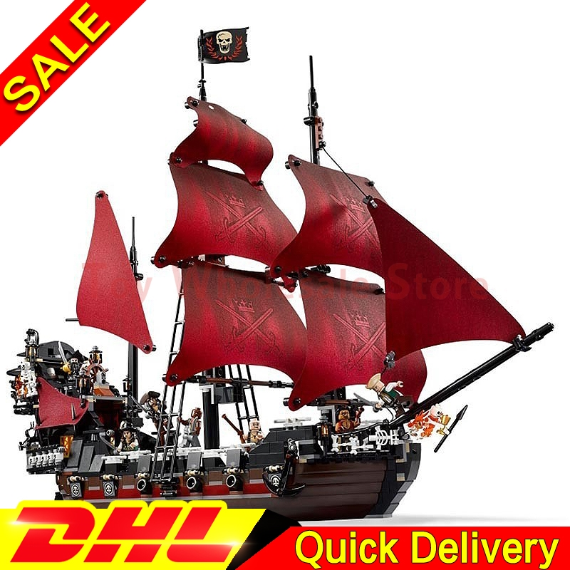 LEPIN 16009 1151Pcs Pirates The Caribbean Queen Anne's Reveage Model Building Kit Set Blocks Brick lepins Toys Gift Clone 4195 lepin 22001 imperial warships 16009 queen anne s revenge model building blocks for children pirates toys clone 10210 4195