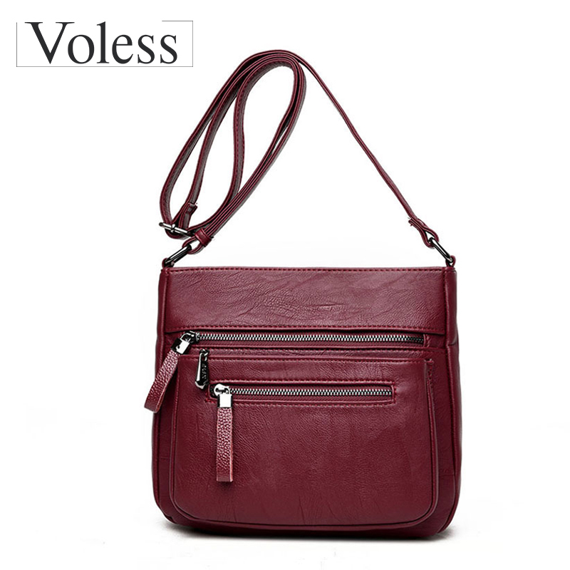 Fashion Women Messenger Bags Designer Ladies Shoulder Bags PU Leather HandBag Crossbody Bag For Women Double Zipper Sac A Main