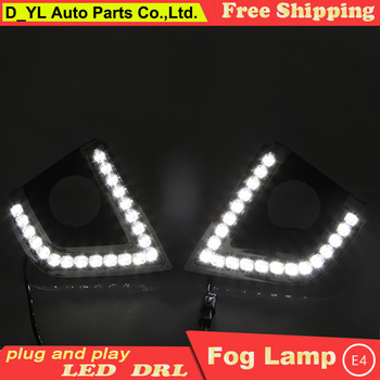 Car Styling Daytime Running Lights for Toyota Corolla LED DRL 2014-2016  LED Fog Light Front Lamp with Yellow turn lights.