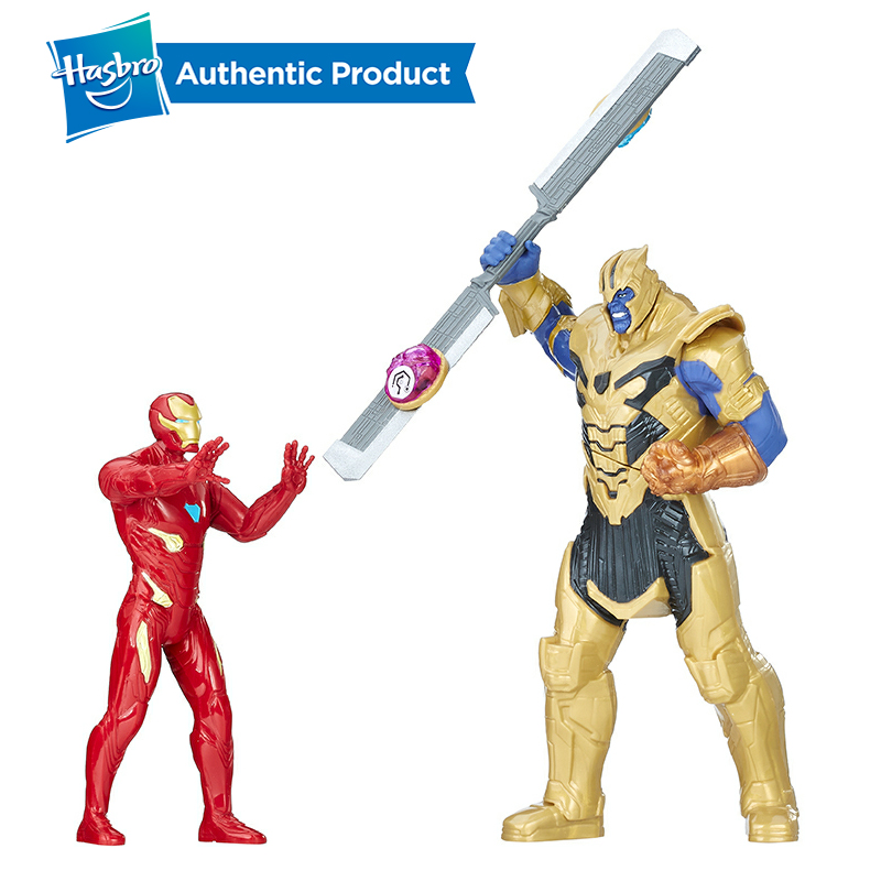 Galleria fotografica Hasbro Marvel Avengers Nfinity War Iron Man VS Thanos Battle Set With Sounds Collectible Model Boys Toy Christmas Gift