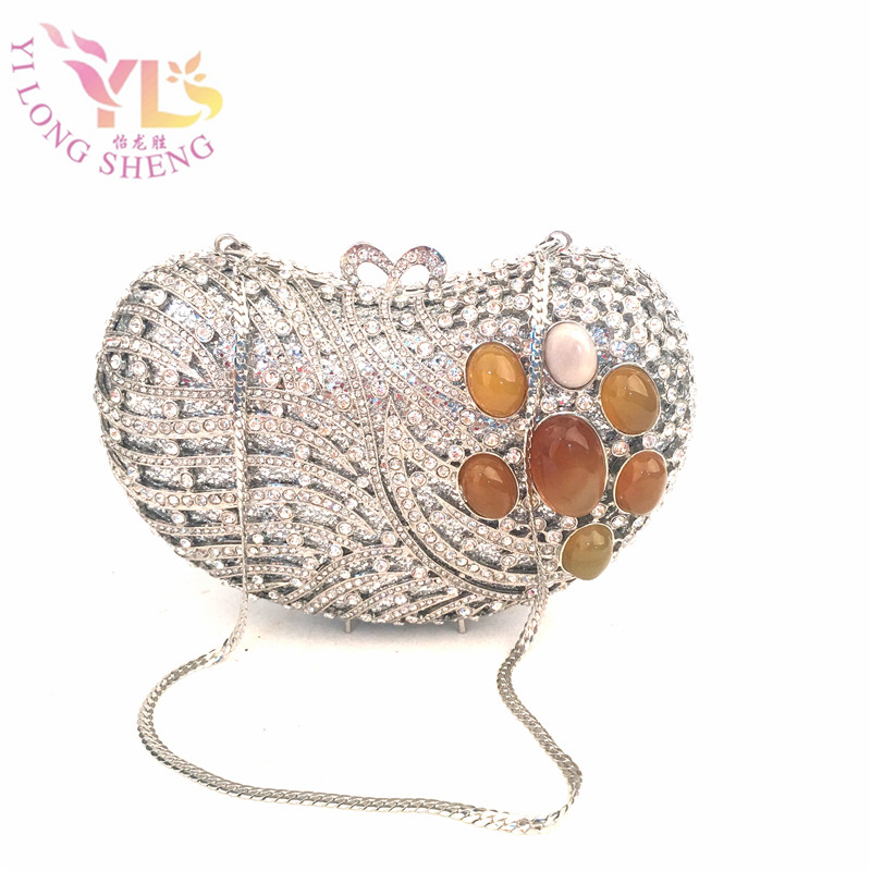 Women Exquisite Silver Day Evening Clutches Mosaic Gem with Heart Design New Designer Evening Clutch Hand Purse Shouler YLS-F06 silver metal lady fashion evening bag silver stylish day clutches prom ladies handbag yls g74