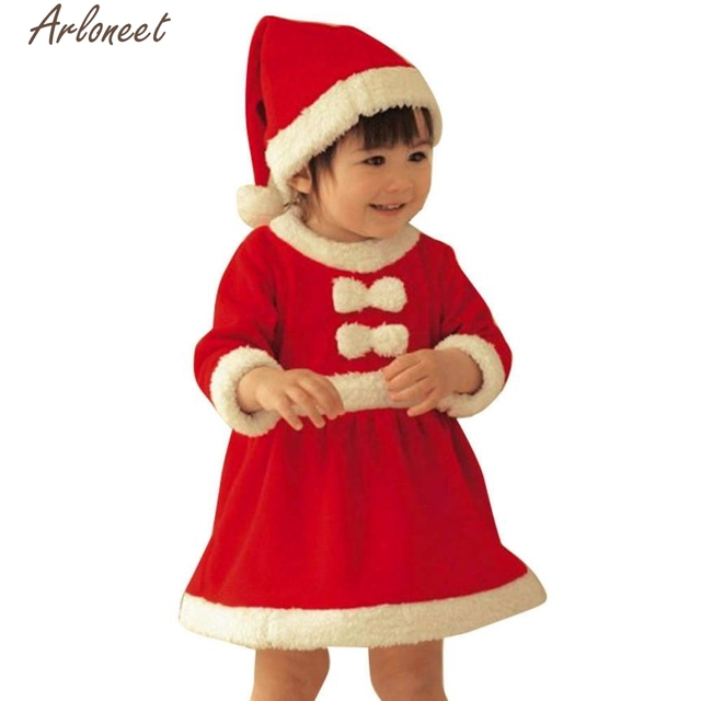 0e7f3d6df Two pieces of a hat for girl's Christmas dress Toddler Kid Baby Girl Clothes  Costume Bowknot Party Dresses+Hat Outfit p30 Dec25