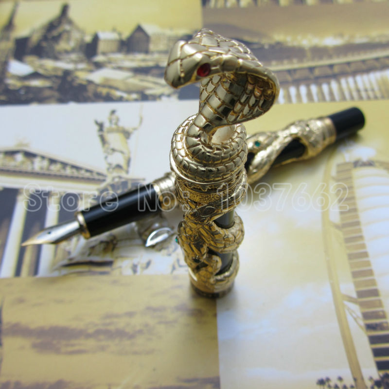 jin hao pen upscale beautiful Gold snake fountain pen nib 18KGP M Nib Gift pen italic nib art fountain pen arabic calligraphy black pen line width 1 1mm to 3 0mm