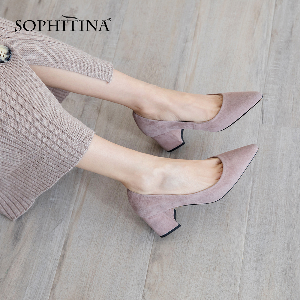SOPHITINA Fashion Square Heel Women Pumps Spring Autumn Pointed Toe Slip-On Shoes Casual Shallow High Heel Ladies Pumps MO198