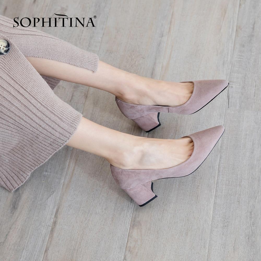 SOPHITINA moda plac Heel kobiety pompy wiosna jesień szpiczasty nosek buty wsuwane na co dzień płytkie wysokie obcas panie pompy MO198 w Buty damskie na słupku od Buty na  Grupa 1