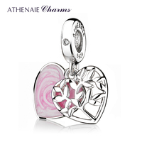 ATHENAIE Fashion New 925 Sterling Silver Clear CZ Tree of Love Dangle Charm fit Women Bracelets Necklaces DIY Jewelry