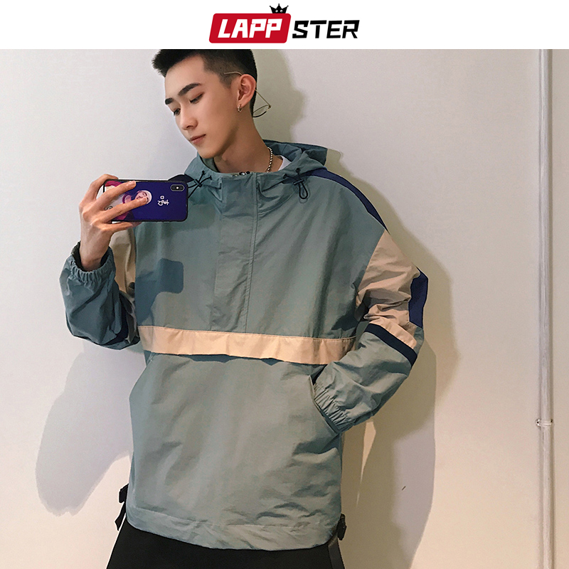 LAPPSTER Men Streetwear Bomber Jacket 2020 Mens Patchwork Hip Hop Jackets And Coats Color Block Hooded Jakcets Windbreaker 3XL