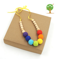 Wholesale Crochet Nursing Necklace Teething Necklace Neo Colourful Rainbow Knit Ball Necklace Christmas Gift 1333