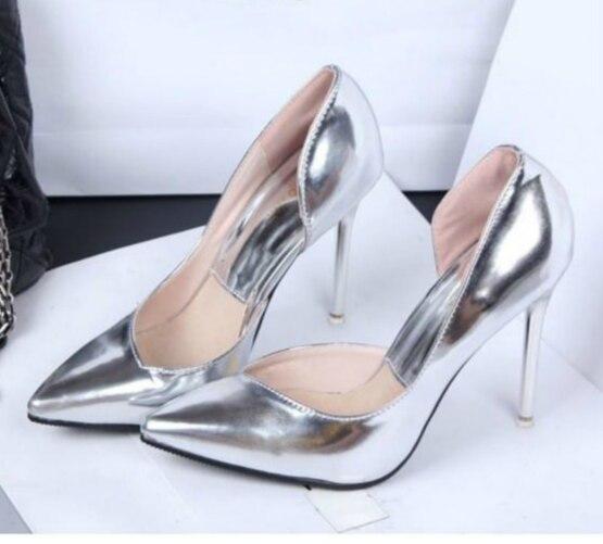 Bankett Größe Spitz Pumpt 26 High 61 gold 11 silver Tanzen Color Schuhe Black Heels Dame Leder copper Frauen G116 Hochzeit Cm Partei w5Iq0Y