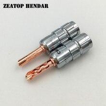 8 sztuk mosiądz CMC kabel głośnikowy Jack 4mm wtyk bananowy BFA wtyk męski przewód śrubowy bez lutowania złącze pokryte różowym złotem