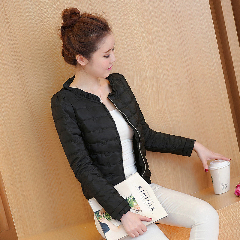 2017 Spring Autumn Basic Jacket Women Ruffled Collar Full Sleeve Slim Coats Female Solid Pockets Zippers Cotton Overcoat Femme 1