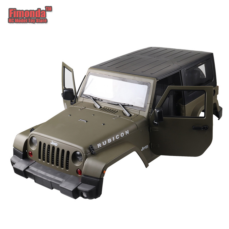 цена на Fimonda 1:10 RC Car Body Shell for Jeep RUBICON Hard Plastic Olive Green Shell for Jeep Rock Crawler SCX10 44CM 270mm Wheelbase