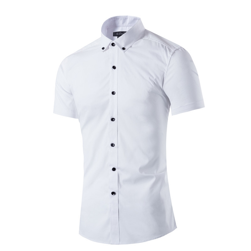 New Slim Fit Solid White Color Cotton Casual font b Shirt b font font b Men