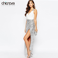 Women S Fashion V Neck Sleeveless Color Block Sequin Maxi Dress Party Dress With Thigh High