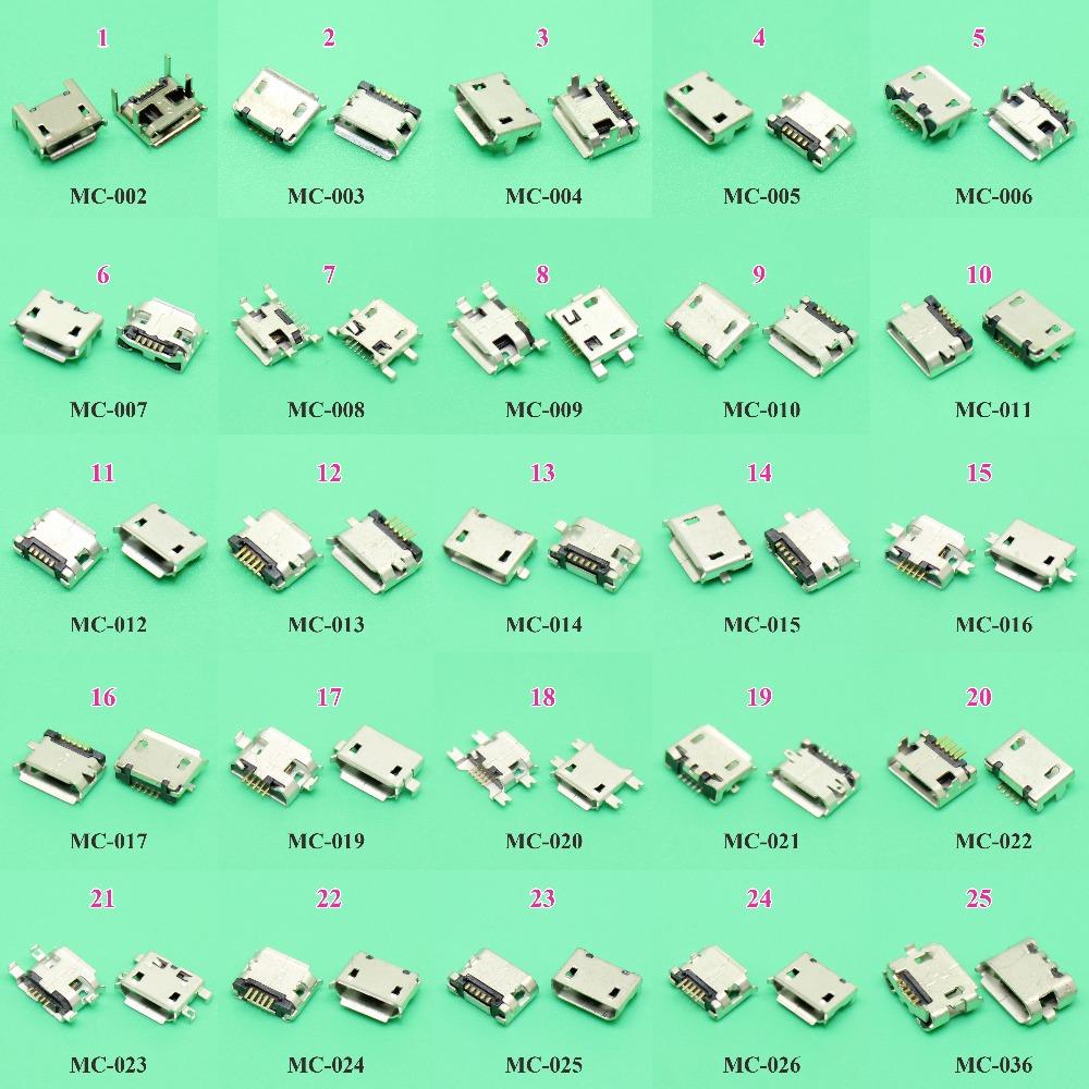 ChengHaoRan 25models 25-125pcs/lot Micro USB Jack 5P 5pin USB Charging Socket Connector SMD DIP V8 Port Charging Data power Plug