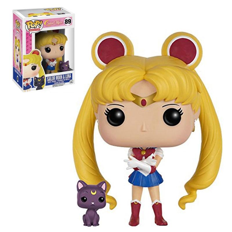 Funko POP Sailor Moon & Luna Vinyl Figure PVC Action Figure Model Toy Sailor Moon 89 Anime come with box Decoration Gift to Kids