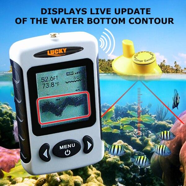 FFW-718 LUCKY Wireless Fish Finder English Version Live-Update 120M Operational Range 40M Depth Fish Icon Fish Alarm эхолот скат два луча lucky ff 718 duo