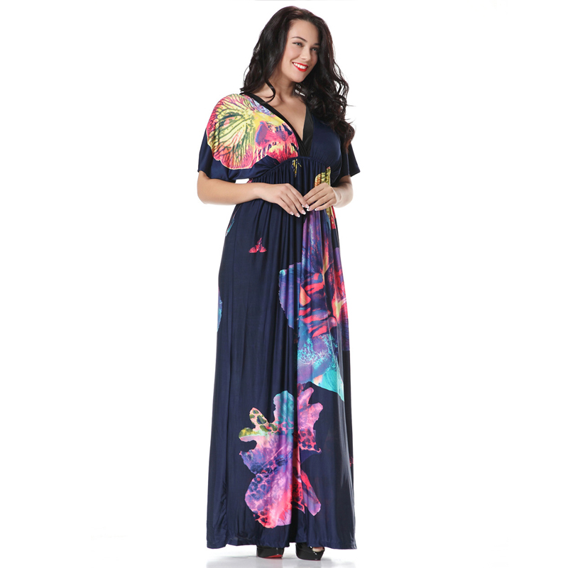 1098ce38219bb XL 7XL Large Plus Size Women's Maxi Long Navy Blue Flower Print V Neck  Dress Big Size Summer Women Dark Blue Dresses MF6042-in Dresses from  Women's Clothing ...