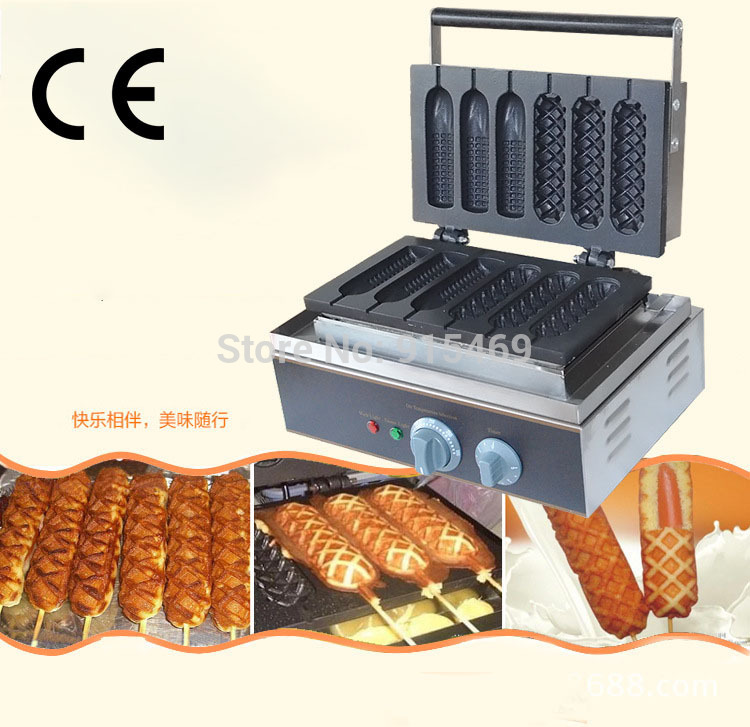 Free Shipping Commercial Use Non-stick 6pcs 110v 220v Electric French Corn Waffle Dog Stick Maker Iron Baker Machine