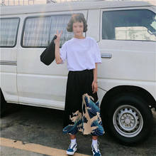 Cncool Ulzzang Casual Pants Harajuku Japanese Wave Print Wide Leg Pant Summer Women Cartoon Loose Trousers 2019 Trending