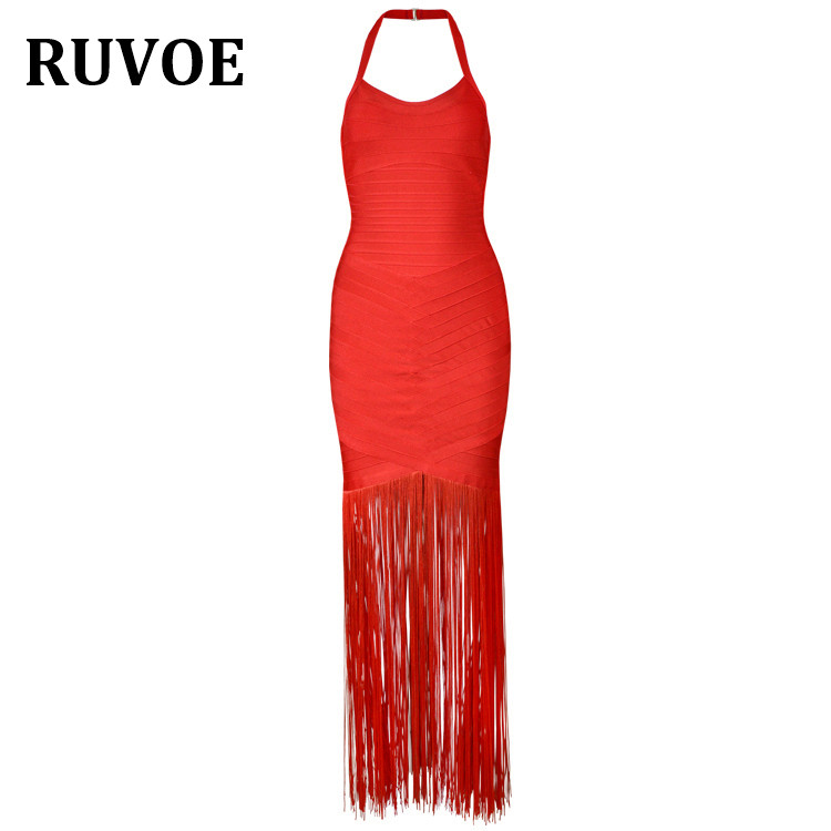 2018 Sexy Women Maxi Bandage Dress Halter Neck Tassle Sleeveless Summer Dress Holiday Long Backless Vestidos Party Dresses Q-10