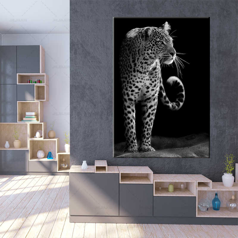 Modern Unique Black And White Animal Close Up Leopard Portrait Wall Art Canvas Print Painting Poster Wall Picture Home Decor