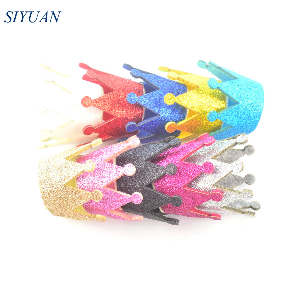 100pcs/lot 10 Color Glitter Felt 3D Crown With White Felt Bottom Non-woven Fabric Tiaras For Hair Ornament H0263