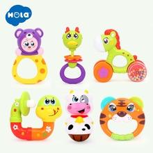 Купить с кэшбэком 1pc Lovely Plastic Newborn Baby Toys Hand Shake Bell Ring Rattles Toys Baby Educational Toys HOLA 1101