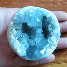 100% Natural celestine stone vug crystal ball cavity. Specimen of open crystal clusters home decorated ball removable fuzzy ball decorated corduroy graphic hat