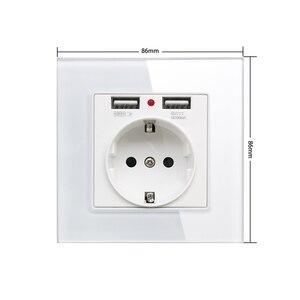 Image 2 - 86*86mm Glas Panel EU Steckdose mit 2,1 EINE 2 USB Lade Ports, 16A 2100mA Elektrische Wand Steckdose