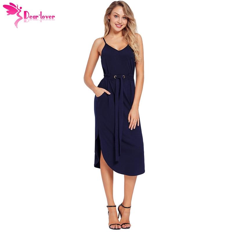 c03ec56a Dear Lover Women Sexy Spaghetti Straps Cami Dresses Black Blue Drawstring  Waist Pocket Midi Dress Knee