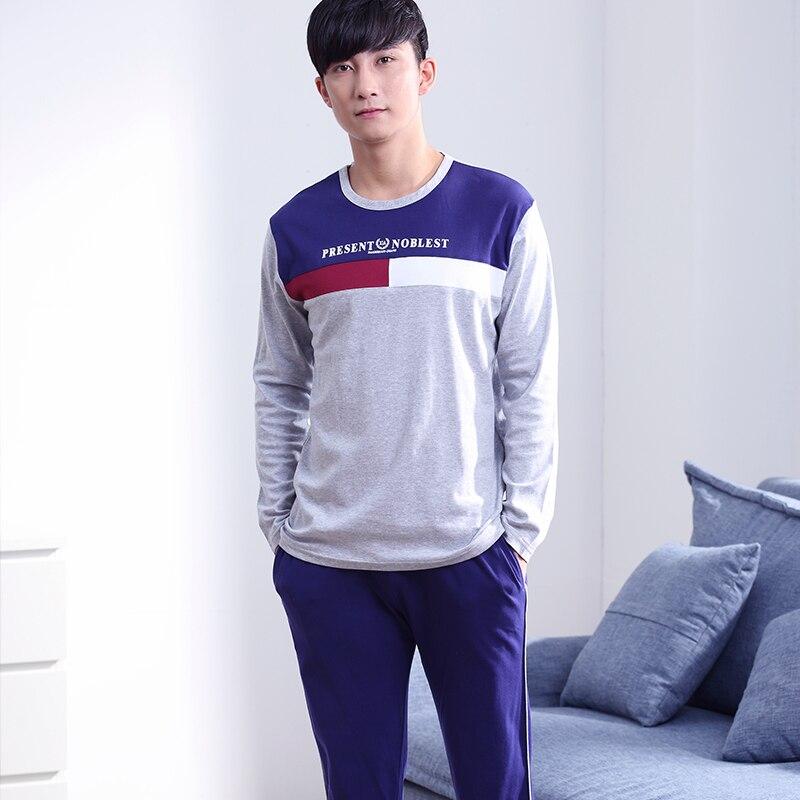 Высокое качество мужская пижама устанавливает осень 100% хлопок повседневная костюм для мужчин плюс размер М-XXXL моды с длинным рукавом мужчин пижамы