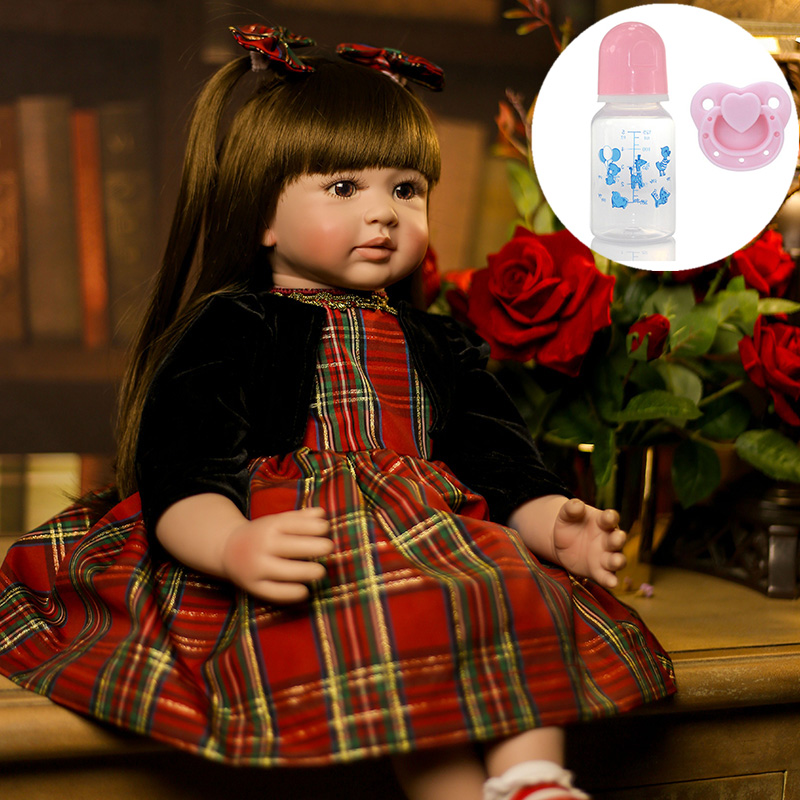 NPK Bebes Reborn Bonecas de Silicone Menina algodão Corpo 60 cm Dormir Brinquedos Boneca Reborn Para Meninas Bebê Recém-nascido Bebes boneca Melhores Presentes