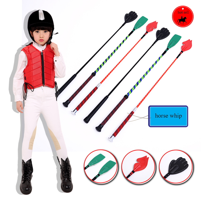 60cm Whips For Kids Equestrian Soft Leather Riding Crop Straight Leather Handle Flogger Horse Whip Horse Racing Equipment A
