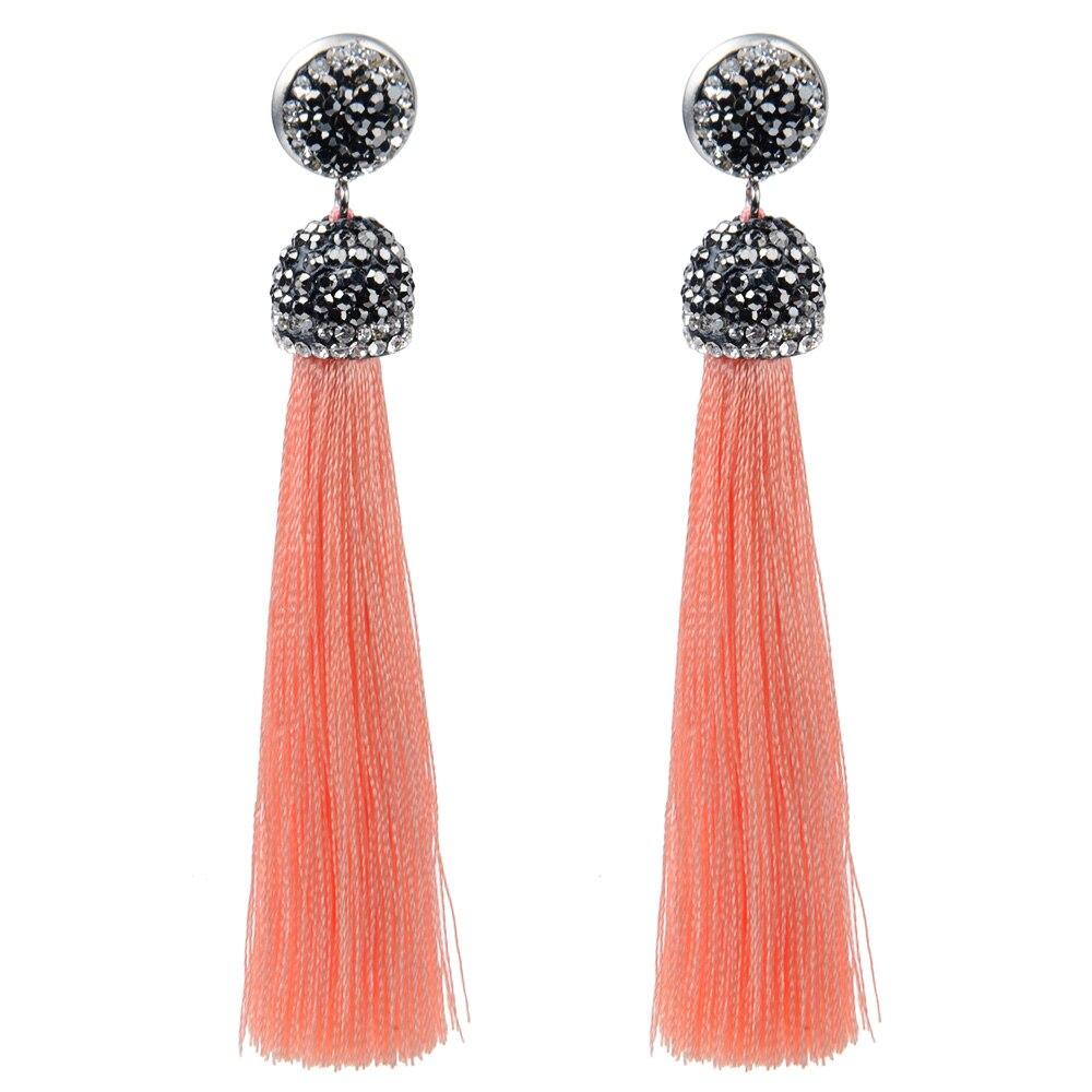 Earring Findings Women Girl Fashion Rhinestone Long Tassel Dangle Earrings Fringe Drop Earrings* Jewelry & Watches
