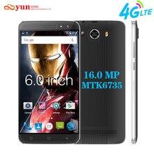 YUNSONG НОВЫЙ S10 Плюс 6.0 дюймов QHD Экран Мобильного Телефона 16.0MP MTK6735 Quad Core Dual Sim Мобильный Телефон GSM/WCDMA/LTE 4 Г смартфон