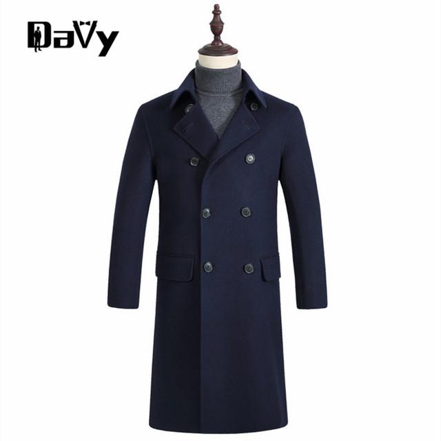 Personalizado dos homens Trench Coat dos homens novos de inverno Coreano de lã misturado casaco gola projeto longo cáqui outwear sobretudo manteau homme