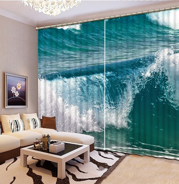 3D Window Curtains For Bedding Room Beach Ocean Living Home Decoration