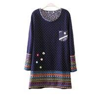 2017 herbst Winter Plus Größe 4XL Dicke Samt Floral frauen Warme Lange T-Shirt Vintage Tupfen Leinen Baumwolle Patchwork Tops