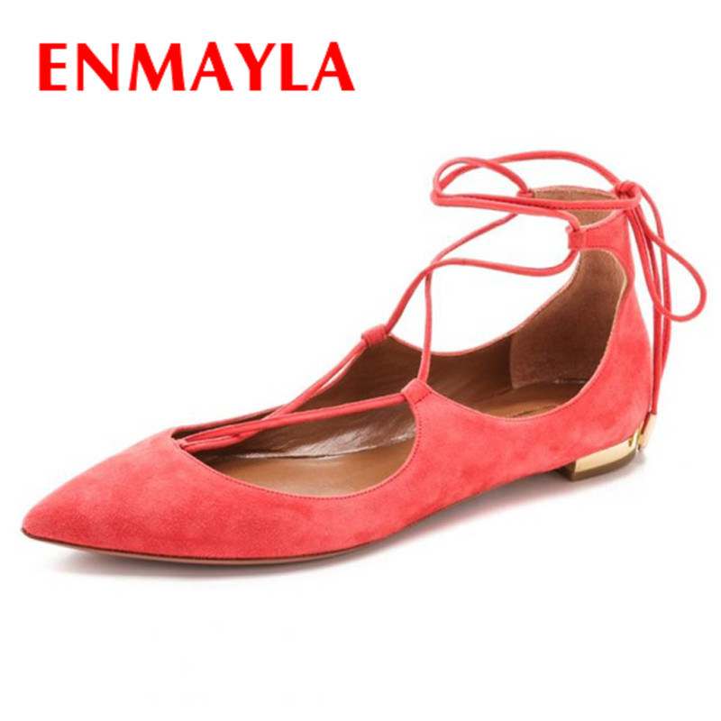 ENMAYLA Pointed Toe Flats Lace-up Croee-tied Shoes Mary Janes Women Shoes Big Size 34-43 Gold Silver Red Blue Flats Shoes Woman apoepo brand mary janes shoes pointed toe butterfly knot decor flats shoes women red pink sweet single shoes for girls newest