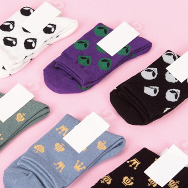 US $2 55 |COCOTEKK Fashion Tide Women Socks Cartoon Alien Emoji Socks  Jacquard Crown Novelty Socks Black White Purple Gray Cotton Sock Art-in  Socks