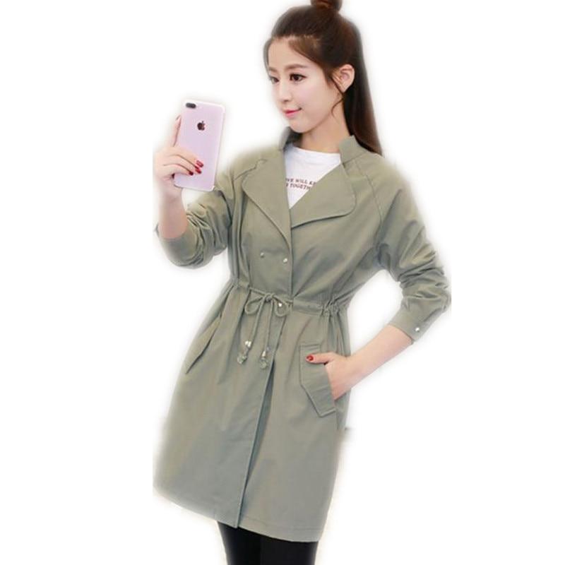 2018 New Fashion Women Spring Autumn Medium-Long   Trench   Coat Female Adjustable Waist Turn-Down Collar Slim Thin   Trench   CQ1130